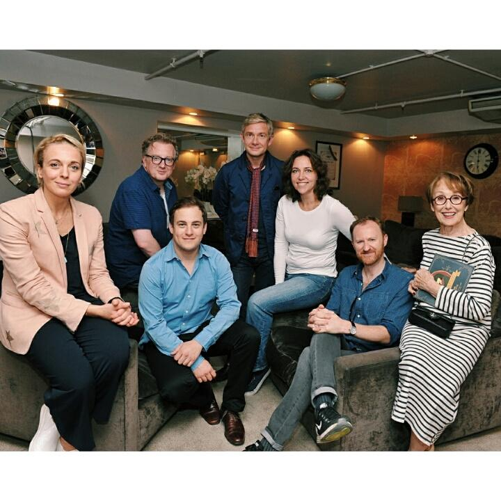 Celebrating the fantastic #SherlockProm with @CHIMPSINSOCKS Martin Freeman, Christine Rice, Una Stubbs, Mark Gattis http://t.co/nY7tLxeEFf