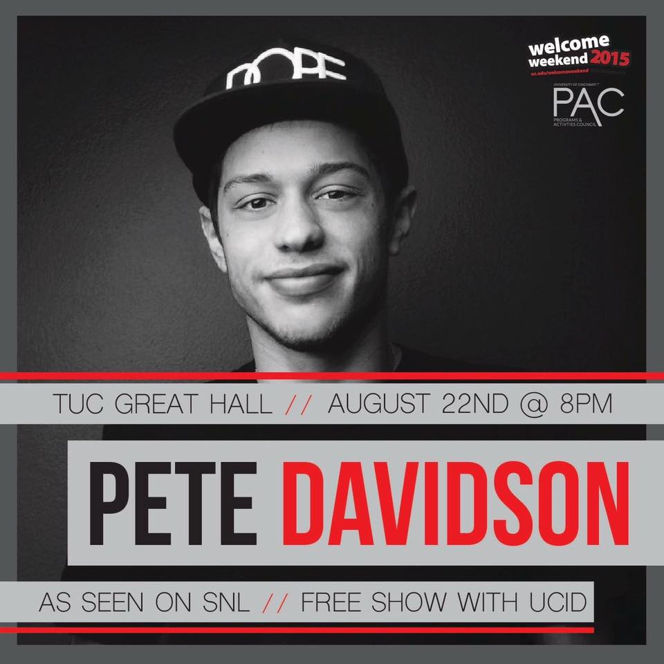 JUST ANNOUNCED: our Welcome Weekend comedian is the hilarious @petedavidson ! Get excited @uofcincy @PrezOno :) http://t.co/KAIoTYF7GA
