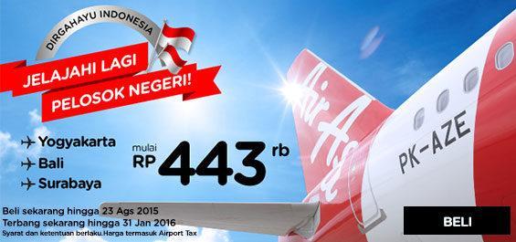 Jelajahi lg pelosok negeri: terbang ke Yogya, Bali, Surabaya mulai 443ribu!  Pesan segera di: