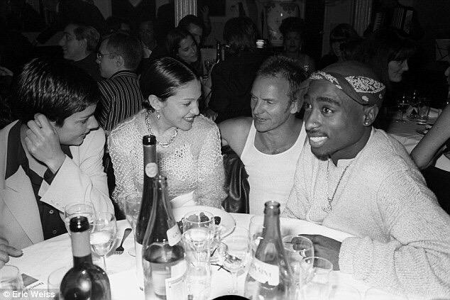 Ingrid Casares, Madonna, Sting, and Tupac at a dinner party in 1994. Happy Birthday