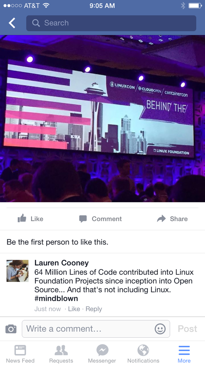 This. 64M lines of code. #bang #LinuxCon cc/@linuxfoundation http://t.co/8eT867p8Nk