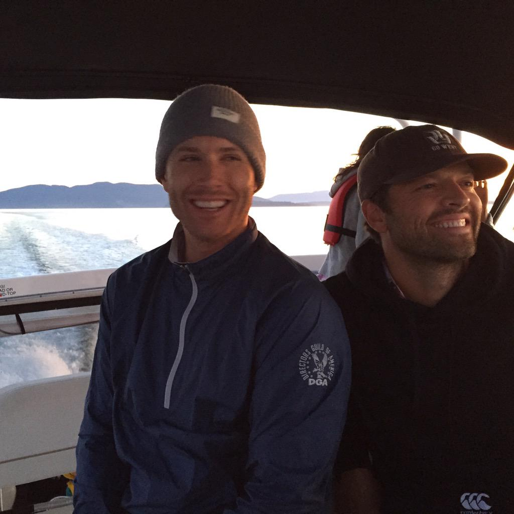 Not sure it was a good idea to let this guy drive a boat...#ScaredLaughter @mishacollins
