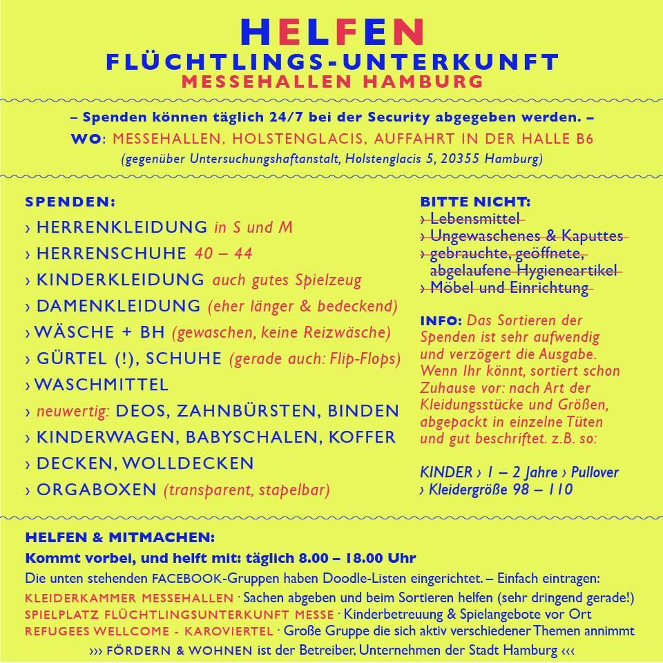 Was brauchen die Flüchtlinge in Hamburg - damit könnte Ihr Ihnen helfen. http://t.co/MK8jnS6ou2