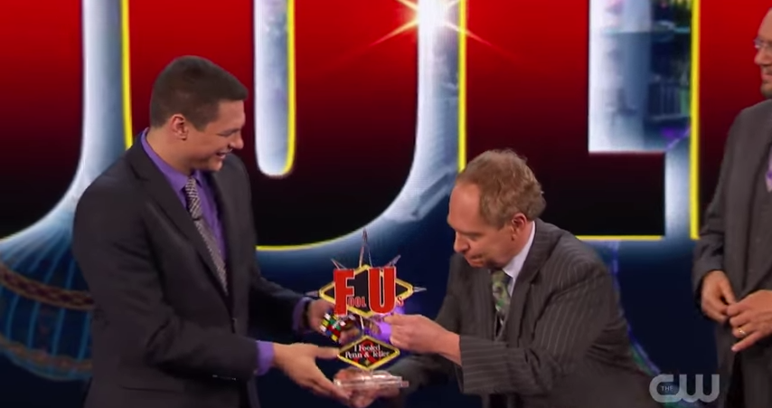 If you can fool @pennjillette and @MrTeller on their show you get a trophy that literally says 'FU' on it. #foolus http://t.co/Jws0Vtj6gh