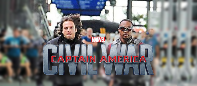 Sebastian Stan Dons 'Winter Soldier' Suit And Races 'Falcon' On  CAPTAIN AMERICA CIVIL WAR Set http://t.co/DEtffSErp5 http://t.co/KLzgUVUJFX