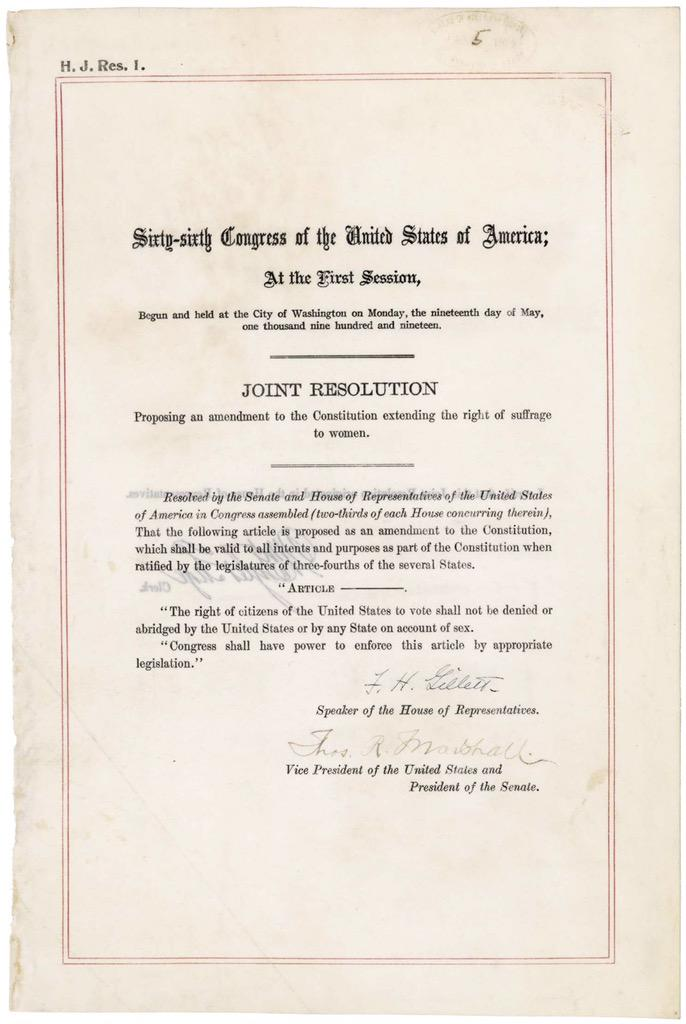 On this day in 1920 the 19th Amendment to the U.S. Constitution was ratified, guaranteeing women's suffrage. http://t.co/nXOhpkK0GD