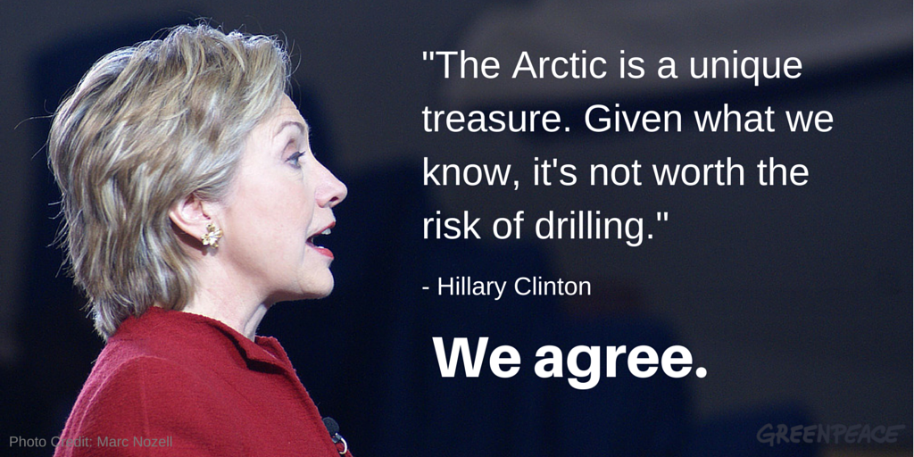 RT @greenpeaceusa: Looks like @POTUS isn't the only one with an Arctic stance. Hear from Hillary and 25 others http://t.co/3wlIiO5TmA http:…