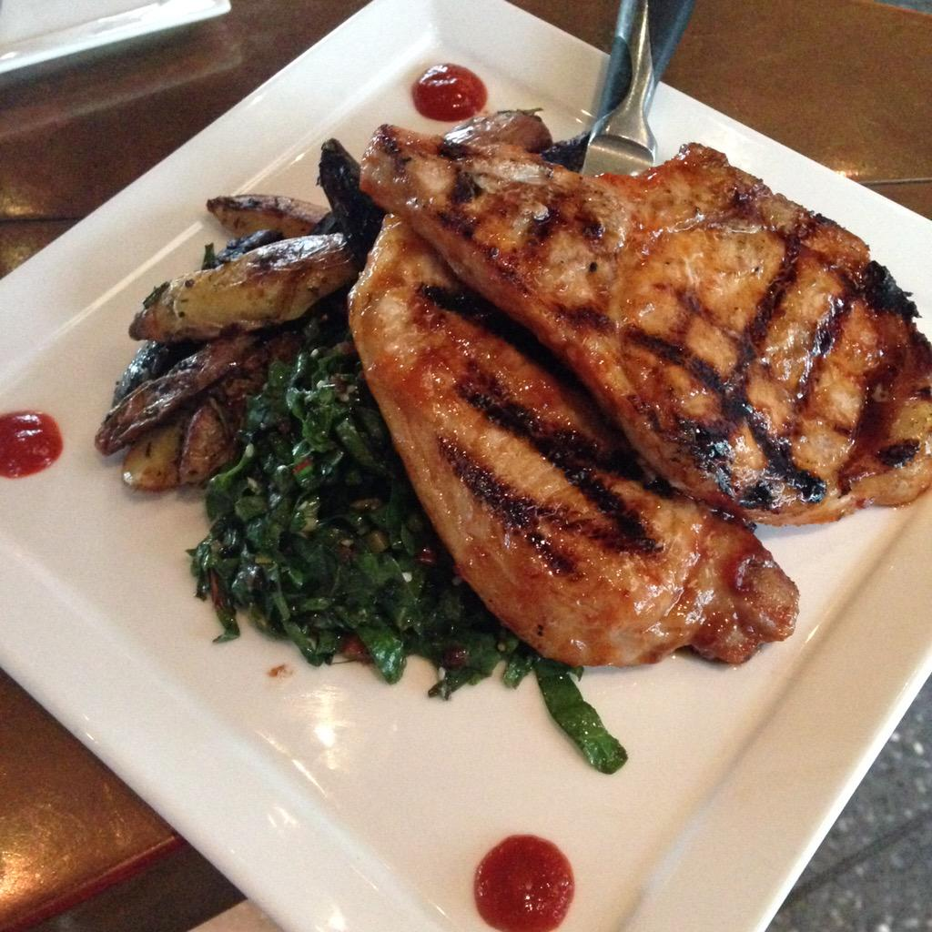 Chef Boo's Korean BBQ grilled pork chops with herb roasted fingerlings and a chilled sesame chard slaw. Delicious! http://t.co/cyD0C1kmgb