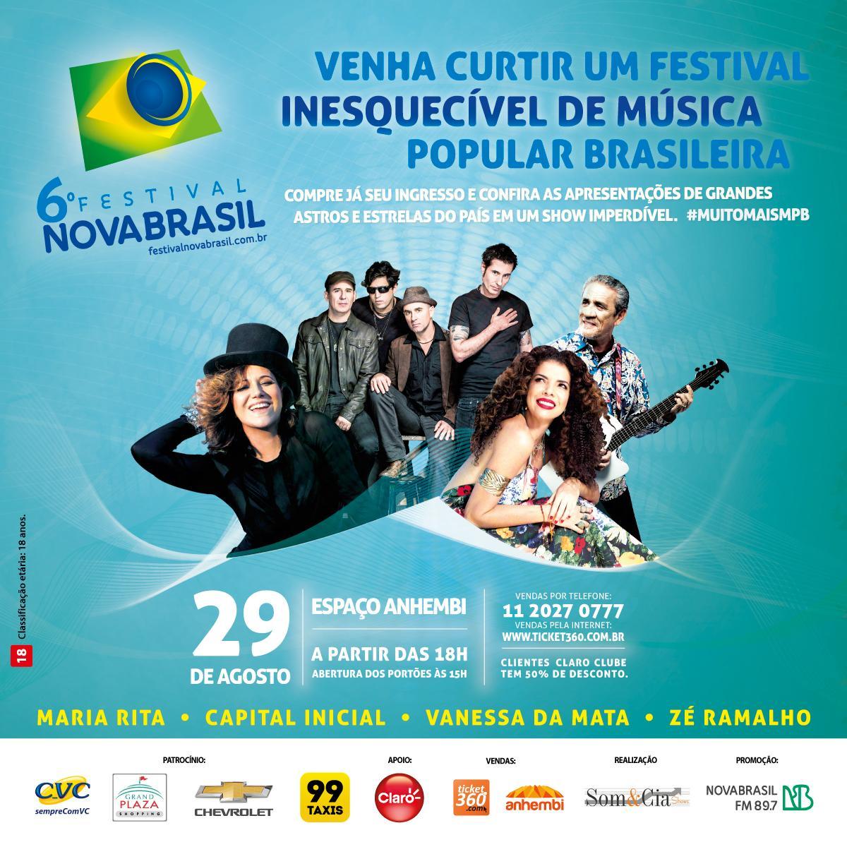 Dê RT e concorra a ingressos para o 6º Festival NOVABRASIL. Iremos sortear 15 pares por pessoa. *Válido p/ São Paulo. http://t.co/TZXOqkrtsB