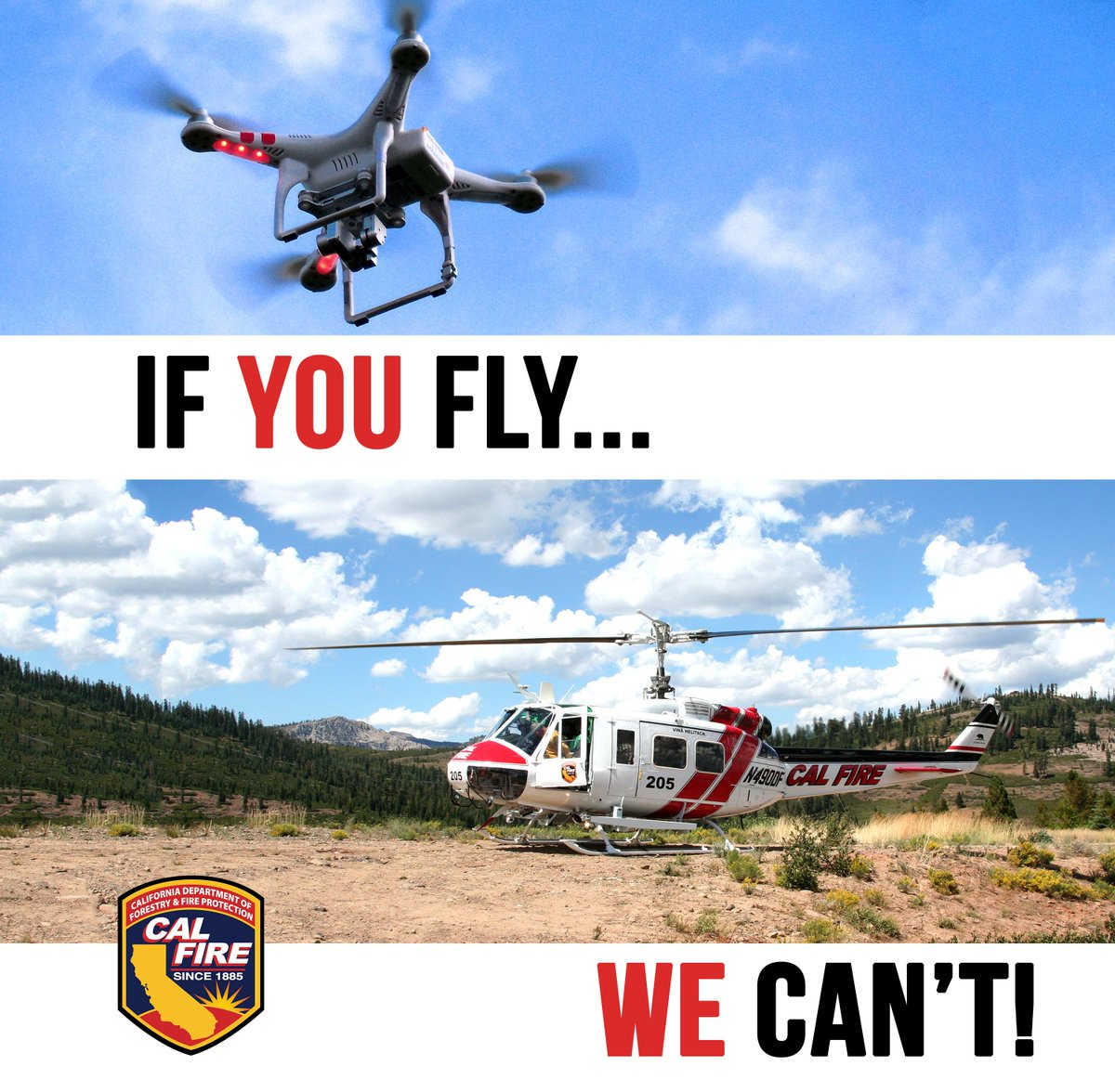 CAL FIRE asks the public to NEVER fly #drones near wildfires. Remember: #IfYouFlyWeCant! http://t.co/X4VSBCNr2T http://t.co/PYzYcBiP5p