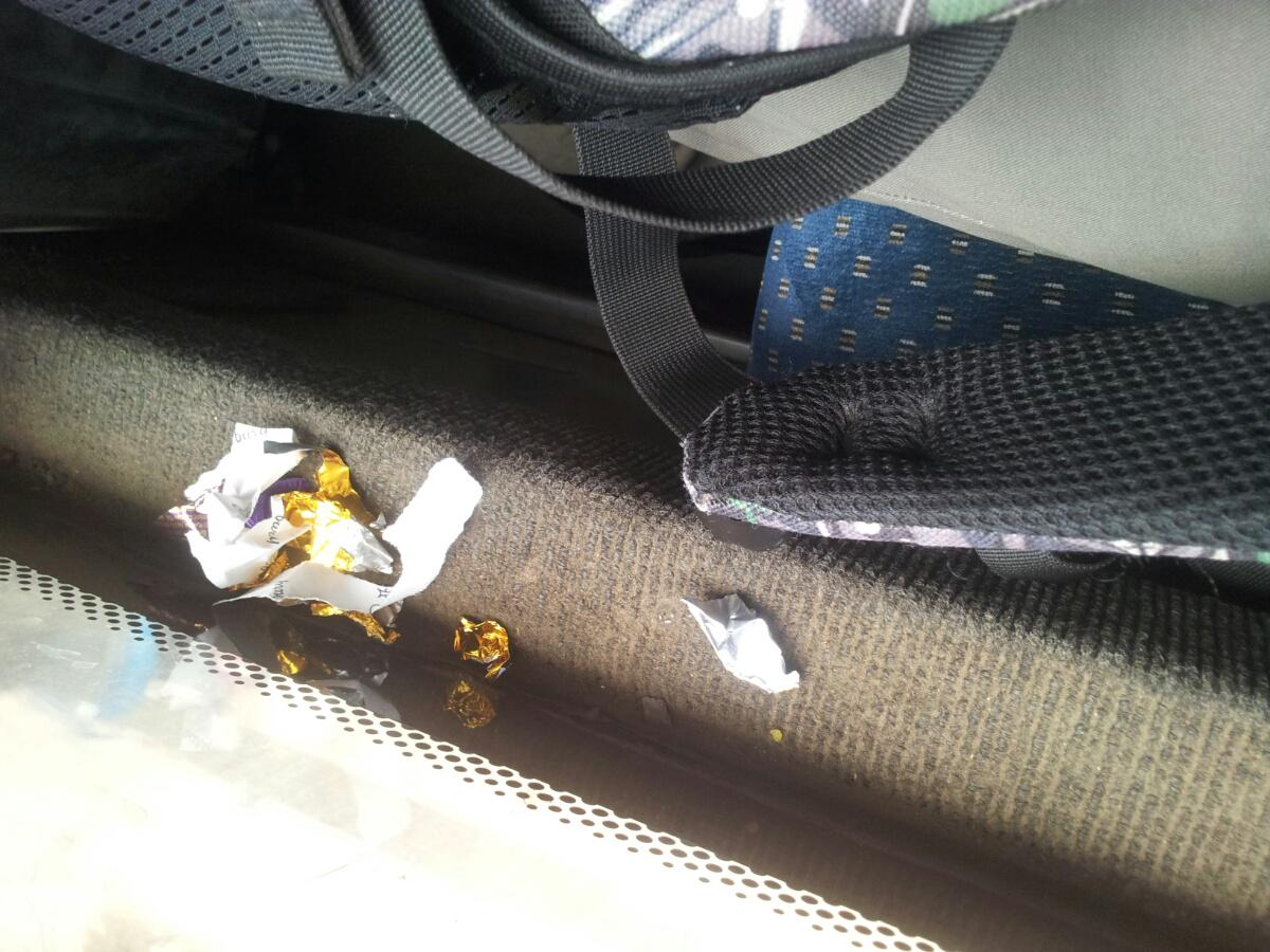 Someone forgot wrappers in Volvo 335T, KA01 F3920. Whoever owns it please take it from me, have kept it in my bag. http://t.co/UWHxbGgi2p