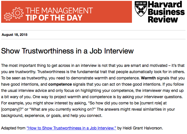 What do you really need to prove in a job interview? Trustworthiness. http://t.co/In93WOim1A
