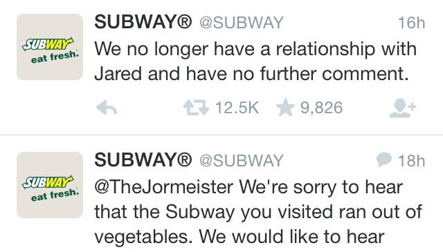 .@SUBWAY is doing damage control for two scandals now http://t.co/Rq0CS3xwuY