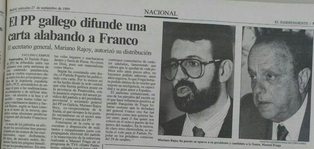 Aquí Mariano Rajoy cuando alababa a Franco... jejeje no habia tuiter, ni feibus, ni na... pero había papel...