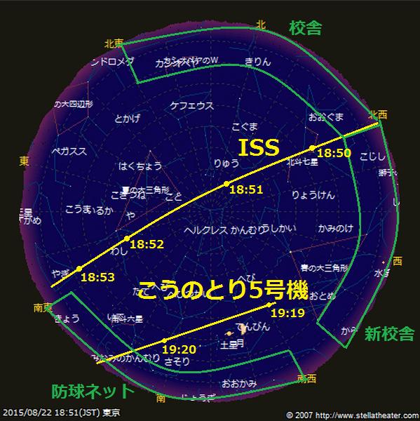 ちなみに、東京での今の予想では、8/22(土)のISS天頂パスで、こうのとり5号機はこれくらい離れています。 (注)まだまだズレると思います。 #ascl #ISS #HTV http://t.co/2c58C7RiQ5