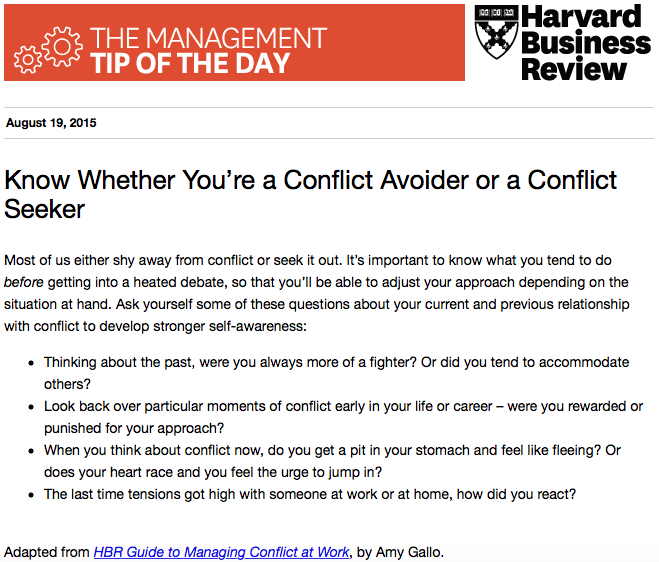 Today's management tip: It's helpful to understand how you handle conflict (before conflict happens) http://t.co/NRM8R81rJV
