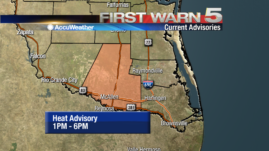 The NWS has issued a Heat Advisory for Hidalgo County from 1PM to 6PM. Heat indices between 111-115 possible today. http://t.co/eMr3BMY3ul