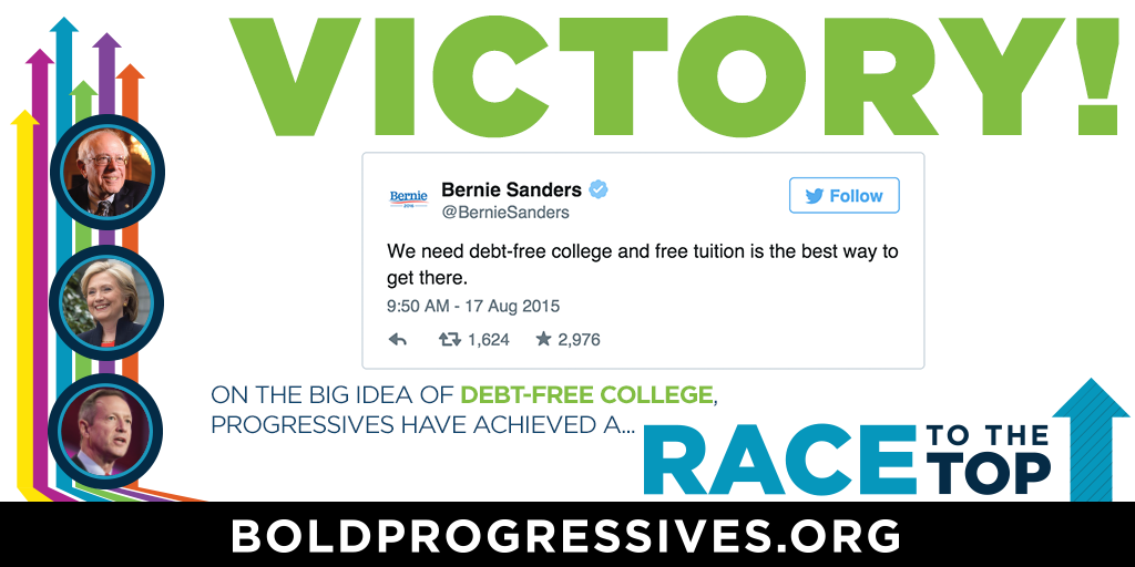 .@BernieSanders has been bold on college affordability — and on Monday he explicitly embraced #DebtFreeCollege! #p2 http://t.co/W14otxnbWg