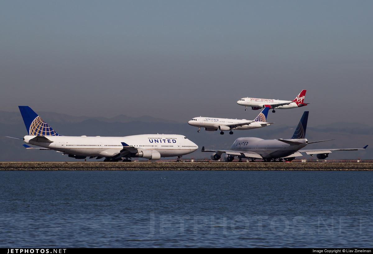 RT @JetPhotosNet: A busy day at @flySFO for @united and @VirginAmerica by Liav Zimelman