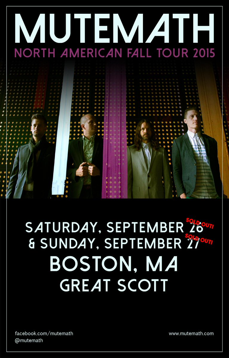 TICKET GIVEAWAY - RT for a chance to win tix to one of the SOLD OUT @MUTEMATH shows! http://t.co/ZLnl8cagG1