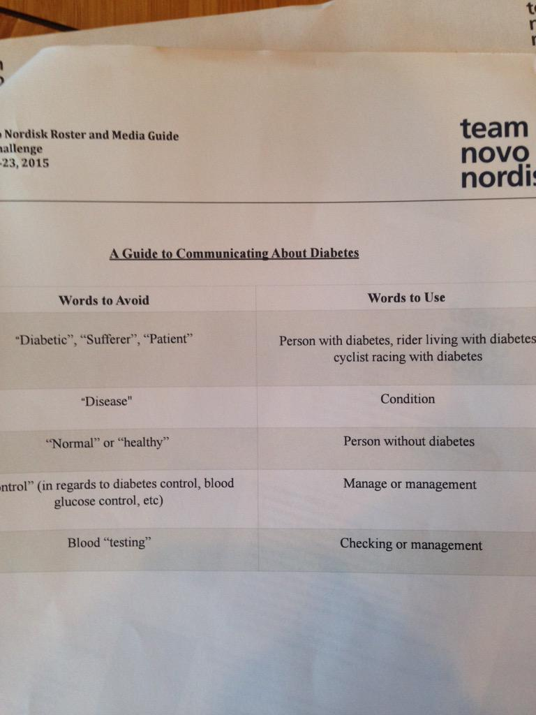 "How AMAZING is the @teamnovonordisk media guide to communicating about #diabetes. No ""diabetic"" or ""sufferer""!!! http://t.co/gdy548uQ11"