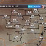 """Its going to be hot & humid again Today. Here are """"Feels Like"""" temperatures at 3:30pm. #arwx #mowx http://t.co/r8ILTEcddP"""