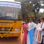 Flagging off a schoolbus for the150yr old Punamoodu GovernmentHighSchool today. Transport is a major rural challenge http://t.co/MPGvMwtrnz