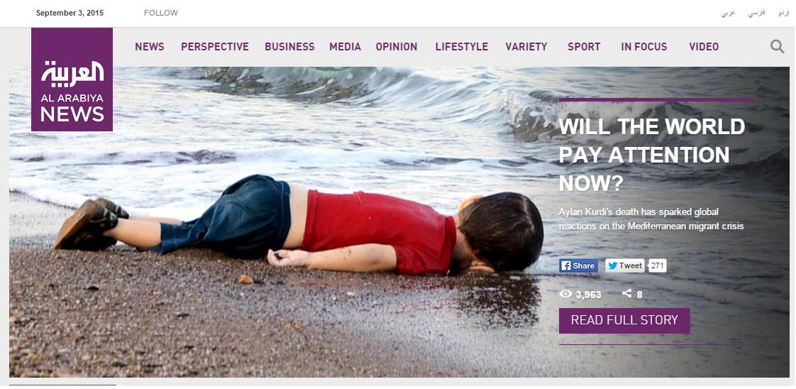 There is only one headline on @AlArabiya_Eng today #Syria #AylanKurdi #refugeecrisis http://t.co/Zro6y0wKSC http://t.co/3EMeAjX4PA