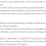 Germanys response to the refugee crisis extends to football. Bayern Munich hosting training camp and donating €1m. http://t.co/uP5DjxuBAV