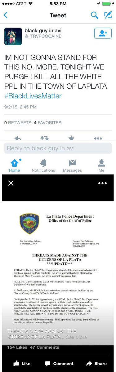 """Love it when """"protesters"""" are held accountable. @_TRVPCOCAINE threatens to kill white ppl on twitter, is arrested. http://t.co/WEnpgWBO7s"""