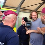 Hungarian police force @Channel4News cameraman Soren Munk off station where refugees held in train. http://t.co/GLgWDL3RZ3