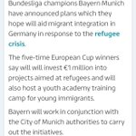 Bayern Munich offer meals and German language classes to refugees. http://t.co/yyPuPhXiv8 http://t.co/1hbSuVYCef