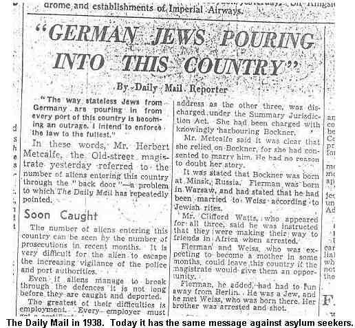 Here's the Daily Mail bashing refugees in 1938. They were Jews fleeing Nazi Germany. #refugeeswelcome #neverforget http://t.co/TlPWKCMCPm