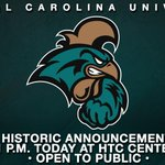 Today at 1 p.m., #CCU will be making an historic announcement in the HTC Center and live on http://t.co/G345avxnTD. http://t.co/86osPAnALK