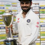Indian Captain @imVkohli Pose with the Trophy #INDvsSL http://t.co/EXC0Vc2dik