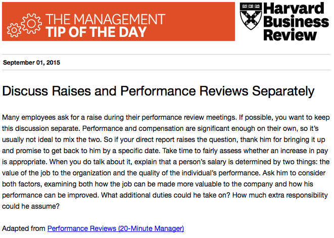 Today's management tip: Talk about a raise *after* the performance review http://t.co/KTy1uVXXYE