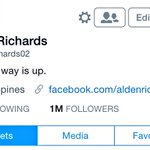 "congrats bae! #AlDubJourneyToForever ""@aldenrichards02: 1Million followers!!! Maraming maraming salamat po!!! 👋🏻😏 http://t.co/7tWSFkXJgU"""