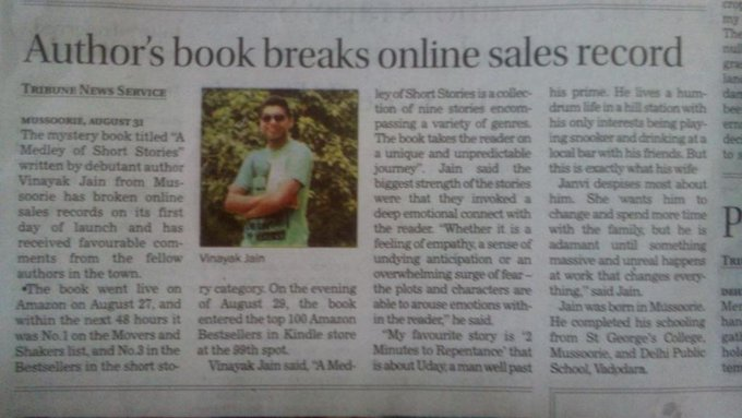 Buddy @vinayak_jain your doing great .What an amazing start .Your book has already made records .CONGRATS??? http://t.co/oLhSkbzN0s