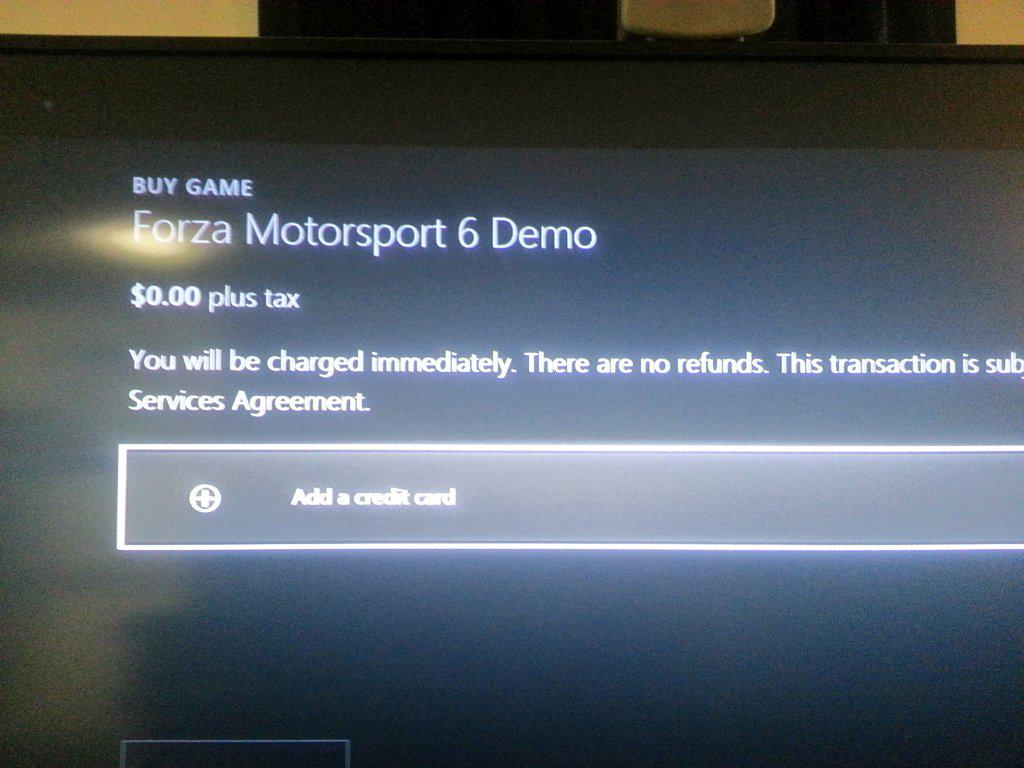 .@XboxP3 .@XboxSupport   What kind of nonsense is this? Forcing people to add a credit card to download a FREE demo? http://t.co/j8rajjqYdZ