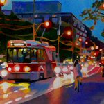 "Finished. Heading East at Queen and Shaw. 12""/36"", oil on wood. #Toronto #art #TTC @QWAC2015 @OssingtonCA http://t.co/A3yLz4temz"