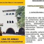 Dotación para los colegios públicos de Valledupar es un compromiso de @linadearmas #LaPrimeraAlcaldesa http://t.co/YvMS99VUSj