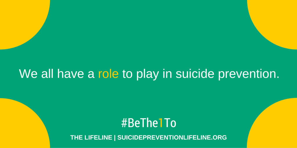 Sept. is #SuicidePreventionMonth! Join us as we encourage others to #BeThe1To help someone else. http://t.co/qOvtZHEC3s