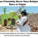 Sikh man builds Masjid for his Muslim friend after he realizes that friend has nowhere to go for praying. Salute. #FB http://t.co/Qcrl0T1Q9S