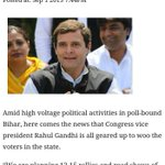 Star Campaigner of BJP @OfficeOfRG to hold 12-15 rallies n roadshows in Bihar http://t.co/NrajUbp9UM