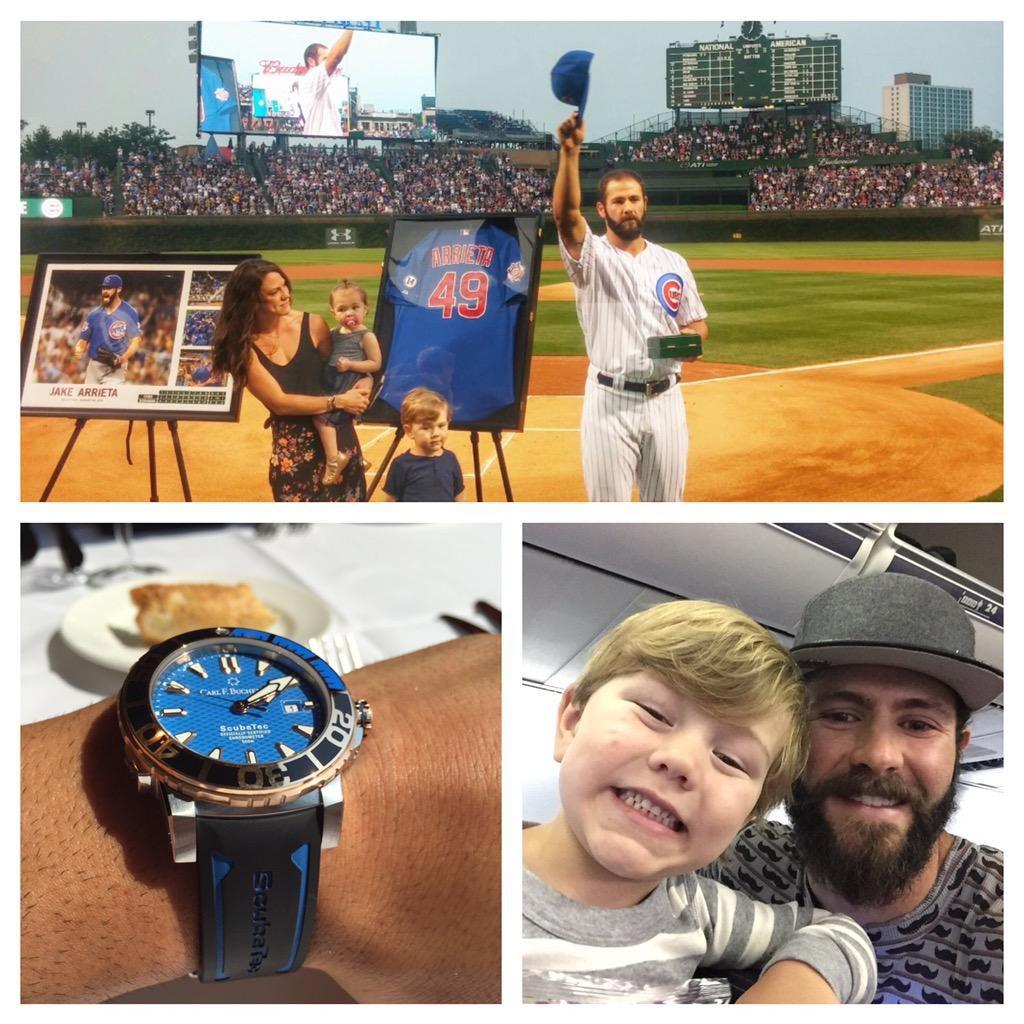 Thank you @Cubs for a great ceremony and a big time watch, Cooper keeps trying to snag it from me �� http://t.co/hchubRa19d