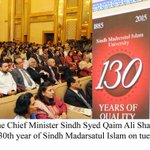 Chief Minister #Sindh Syed Qaim Ali Shah address ceremony to mark the 130th year of Sindh Madarsatul Islam on Tuesday http://t.co/cx6J7hIOST