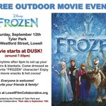 Hope youre SAVING THE DATE for our Outdoor Film Screening of #FROZEN at Tyler Park, #Lowell, Sept. 12! @FOTPlowell http://t.co/CjeRvKy5rK