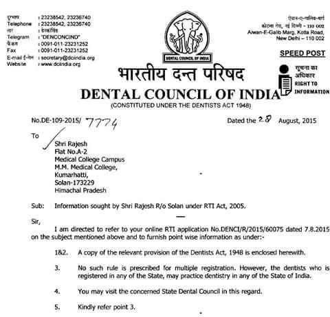 Dentists Registered With Any State Dental Council Can Practice In Any State Of India !!! http://t.co/EeCL17A2so
