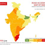 Road Accident map of India.. Tamil Nadu seems to be the most dangerous place for number of deaths per lakh population http://t.co/wx3Y08vd2M