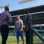 Newly acquired Austin Jackson stepping onto Wrigley Field for the first time as #Cub. Getting a tour of his new home http://t.co/OeGAoVzo36